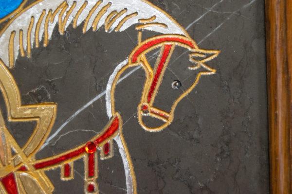 Икона Святого Георгия Победоносца № 05 из мрамора на коне, каталог, изображение, фото 5