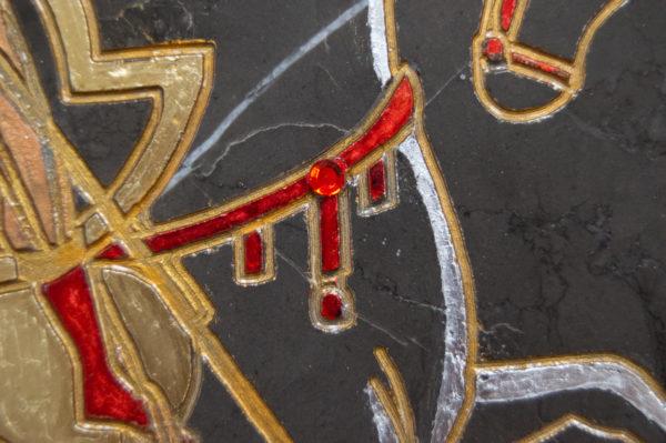 Икона Святого Георгия Победоносца № 05 из мрамора на коне, каталог, изображение, фото 6