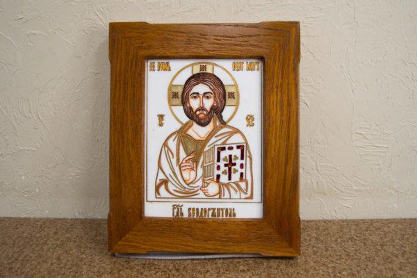 Икона Господа Вседержителя № 3-08 (Пантократор) из камня, Гливи, фото 1