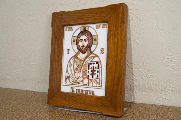 Икона Господа Вседержителя № 3-08 (Пантократор) из камня, Гливи, фото 2