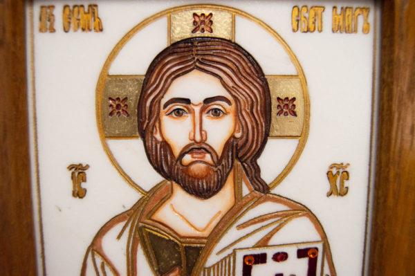 Икона Господа Вседержителя № 3-08 (Пантократор) из камня, Гливи, фото 4