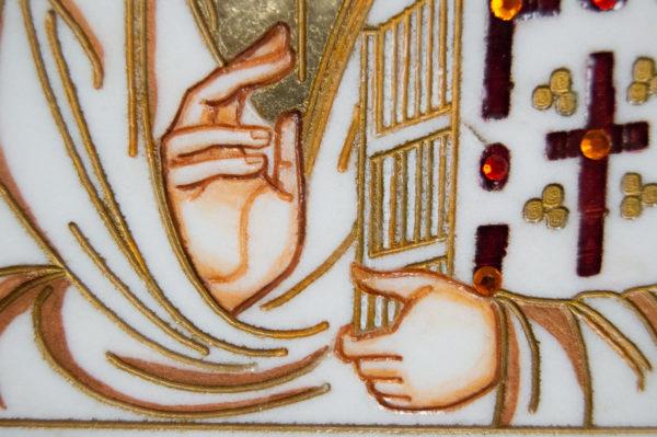 Икона Господа Вседержителя № 3-08 (Пантократор) из камня, Гливи, фото 7