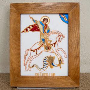 Икона Святого Георгия Победоносца № 06 из мрамора на коне, каталог, изображение, фото 1