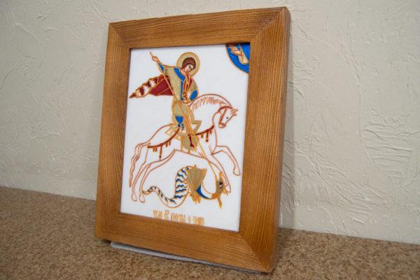 Икона Святого Георгия Победоносца № 06 из мрамора на коне, каталог, изображение, фото 2