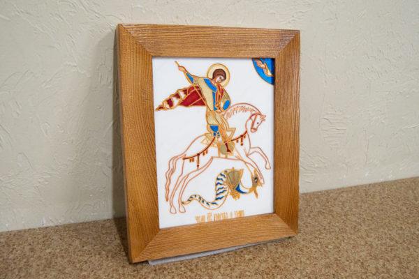 Икона Святого Георгия Победоносца № 06 из мрамора на коне, каталог, изображение, фото 3