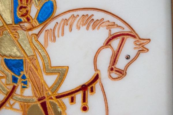 Икона Святого Георгия Победоносца № 06 из мрамора на коне, каталог, изображение, фото 5