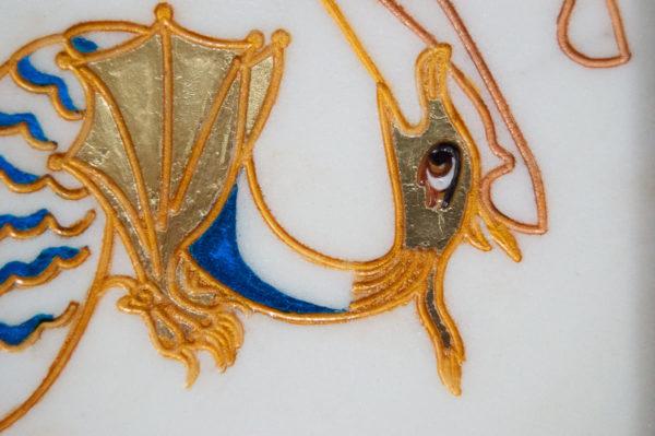 Икона Святого Георгия Победоносца № 06 из мрамора на коне, каталог, изображение, фото 6