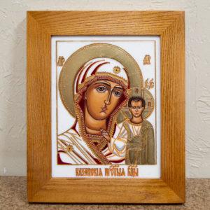 Икона Казанской Божией Матери № 45 подарочная из мрамора, изображение, фото 1
