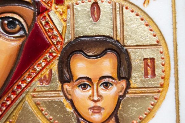 Икона Казанской Божией Матери № 45 подарочная из мрамора, изображение, фото 6