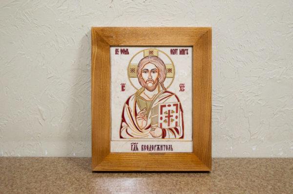 Икона Господа Вседержителя № 3-09 (Пантократор) из камня, изображение, фото 1