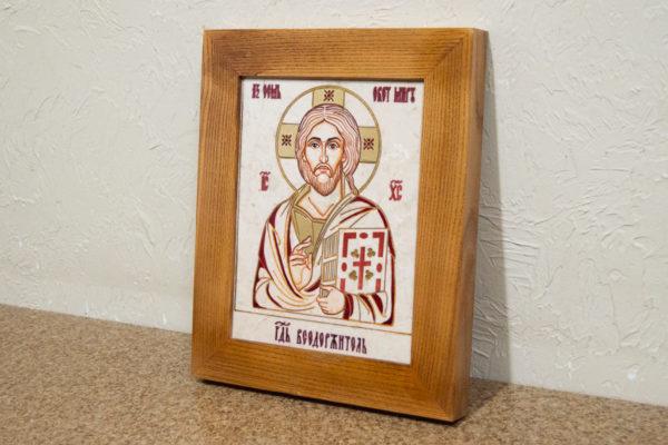 Икона Господа Вседержителя № 3-09 (Пантократор) из камня, изображение, фото 2