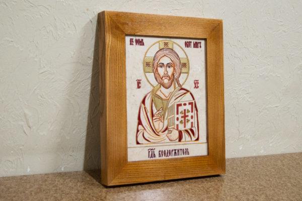 Икона Господа Вседержителя № 3-09 (Пантократор) из камня, изображение, фото 3