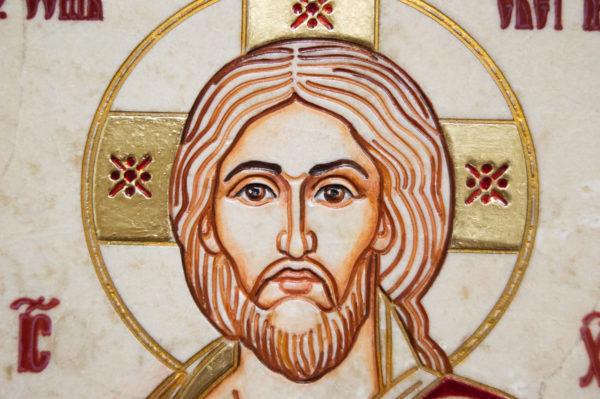 Икона Господа Вседержителя № 3-09 (Пантократор) из камня, изображение, фото 4