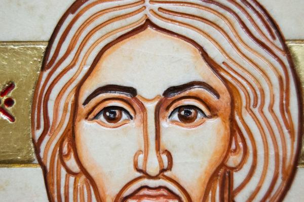 Икона Господа Вседержителя № 3-09 (Пантократор) из камня, изображение, фото 8