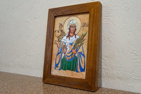 Икона Святой Дарьи Римской № 01 из мрамора, интернет магазин икон, изображение, фото 3