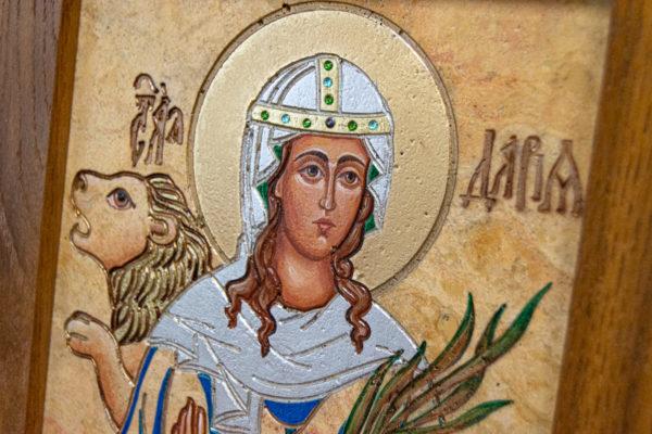 Икона Святой Дарьи Римской № 01 из мрамора, интернет магазин икон, изображение, фото 4