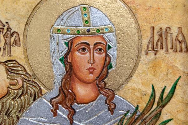 Икона Святой Дарьи Римской № 01 из мрамора, интернет магазин икон, изображение, фото 5