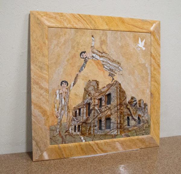 Каменная Картина Оммаж духовному дому отца Шагала № 03, изображение, фото 15