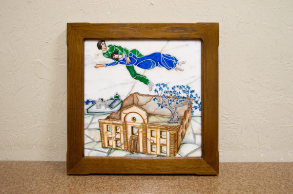 Каменная Картина Оммаж картине Шагала Над городом № 01, изображение, фото 1
