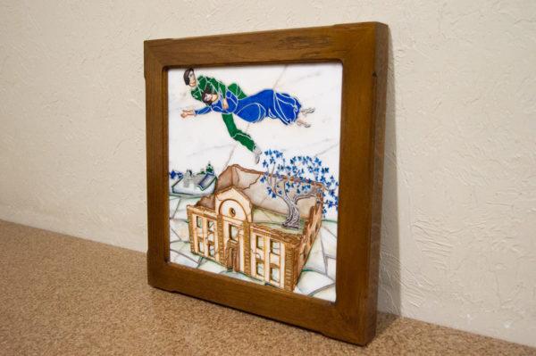 Каменная Картина Оммаж картине Шагала Над городом № 01, изображение, фото 2