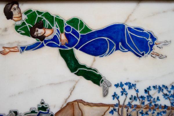Каменная Картина Оммаж картине Шагала Над городом № 01, изображение, фото 4