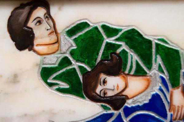 Каменная Картина Оммаж картине Шагала Над городом № 01, изображение, фото 5