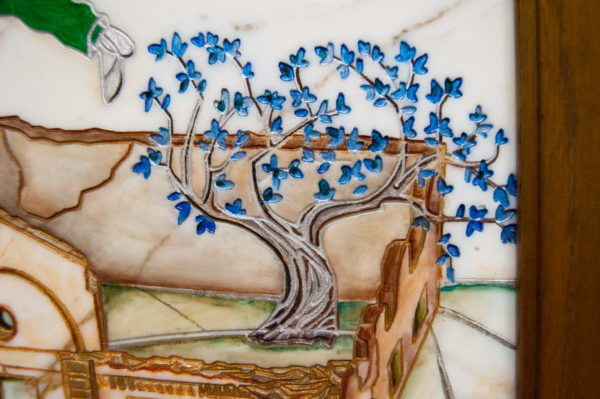 Каменная Картина Оммаж картине Шагала Над городом № 01, изображение, фото 6