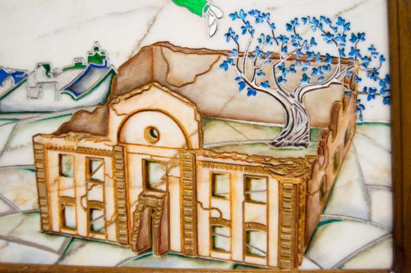 Каменная Картина Оммаж картине Шагала Над городом № 01, изображение, фото 7