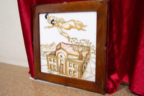 Каменная Картина Оммаж картине Шагала Над городом № 02, изображение, фото 2