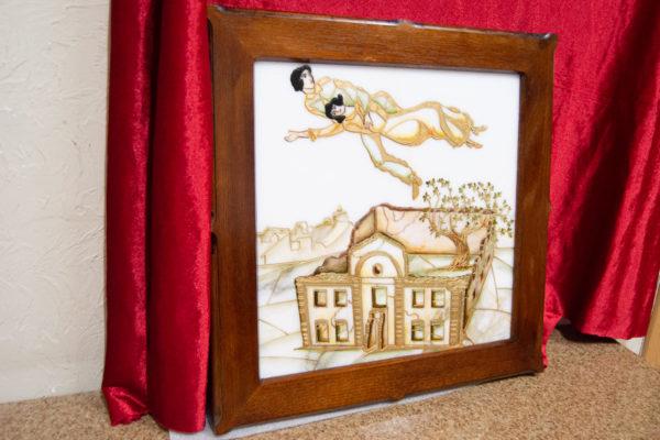 Каменная Картина Оммаж картине Шагала Над городом № 02, изображение, фото 3