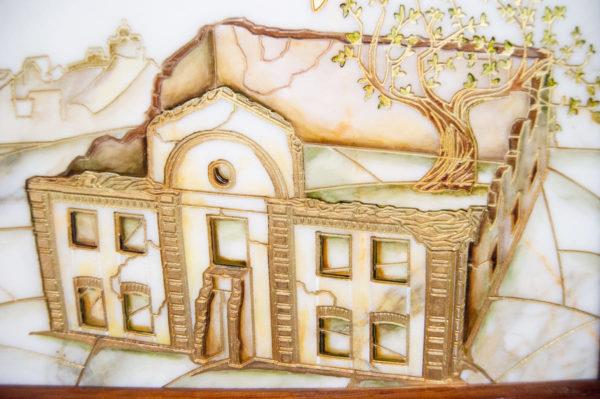 Каменная Картина Оммаж картине Шагала Над городом № 02, изображение, фото 4