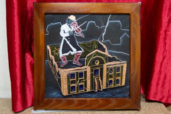 Каменная Картина Оммаж картине Шагала Уличный скрипач № 01, изображение, фото 1