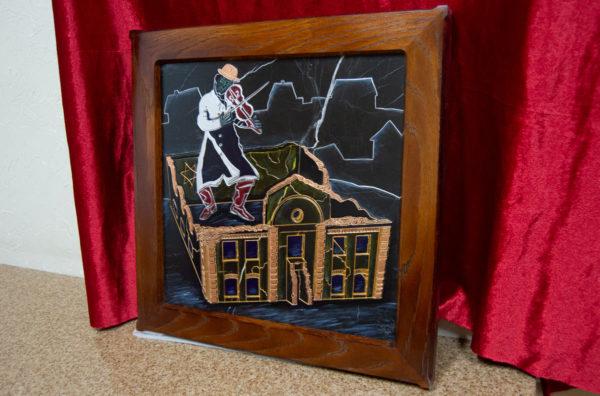 Каменная Картина Оммаж картине Шагала Уличный скрипач № 01, изображение, фото 2