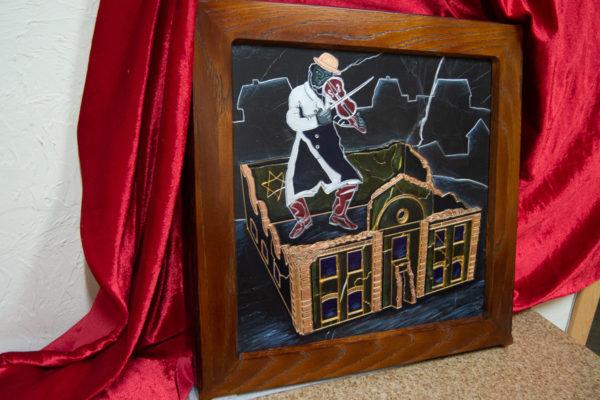 Каменная Картина Оммаж картине Шагала Уличный скрипач № 01, изображение, фото 3