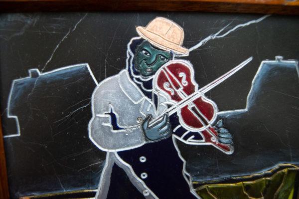 Каменная Картина Оммаж картине Шагала Уличный скрипач № 01, изображение, фото 4