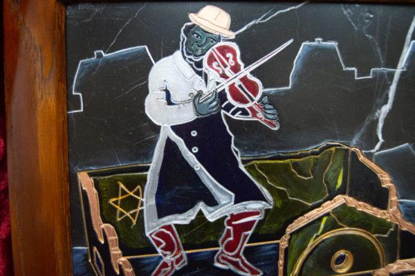 Каменная Картина Оммаж картине Шагала Уличный скрипач № 01, изображение, фото 5