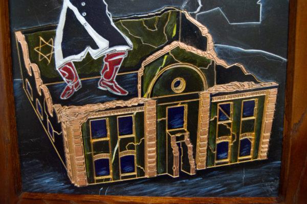 Каменная Картина Оммаж картине Шагала Уличный скрипач № 01, изображение, фото 6