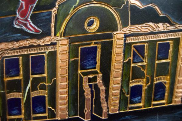 Каменная Картина Оммаж картине Шагала Уличный скрипач № 01, изображение, фото 7