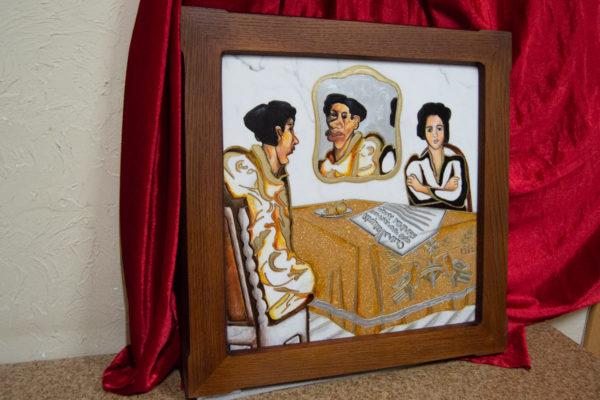 Каменная Картина Автопортрет в зеркале № 01, изображение, фото 3