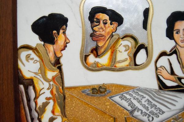 Каменная Картина Автопортрет в зеркале № 01, изображение, фото 8