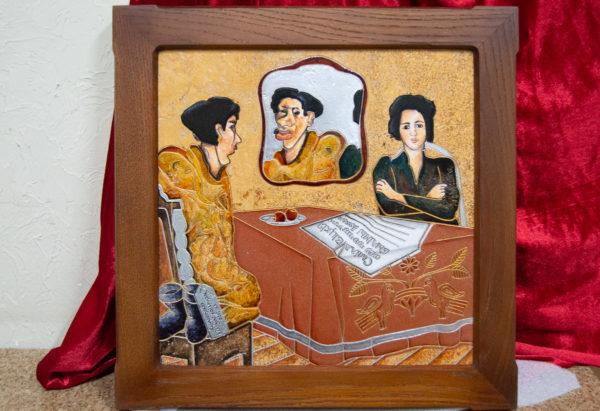 Каменная Картина Автопортрет в зеркале № 02 (Сутин), изображение, фото 1