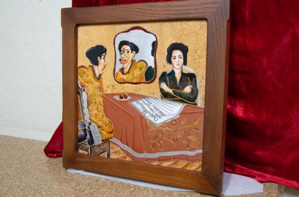 Каменная Картина Автопортрет в зеркале № 02 (Сутин), изображение, фото 2