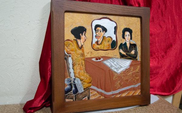 Каменная Картина Автопортрет в зеркале № 02 (Сутин), изображение, фото 3