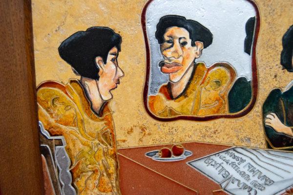 Каменная Картина Автопортрет в зеркале № 02 (Сутин), изображение, фото 4