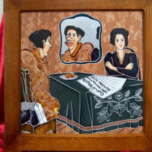 Каменная Картина Автопортрет в зеркале № 03 (Сутин), изображение, фото 1