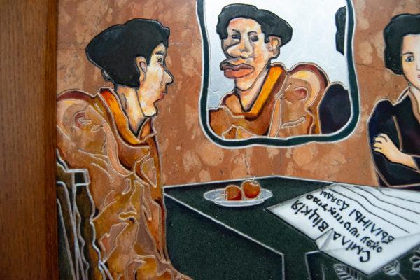 Каменная Картина Автопортрет в зеркале № 03 (Сутин), изображение, фото 4