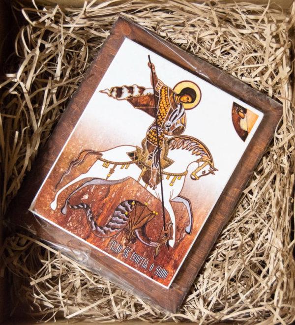 Сувенир Икона Святого Георгия Победоносца № 01 на мраморе, каталог икон, фото 4
