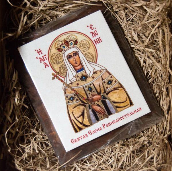 Сувенир Икона Святой Елена № 01 на мраморе, каталог икон, фото 1