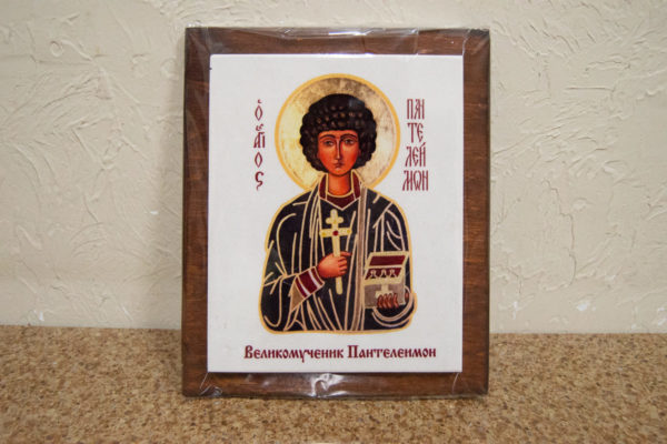 Сувенир Икона Святой Пантелеймон № 01 на мраморе, фото 2