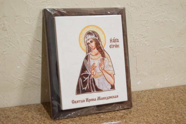 Сувенир Икона Святой Ирины Македонской № 02 на мраморе, фото 4